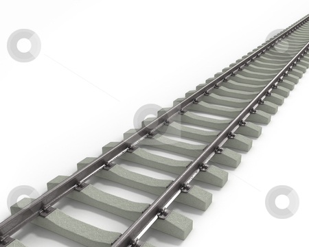Long Rails Diagonal  stock photo, Long Rails Diagonal, isolated on white background by Zelfit