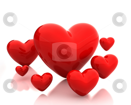 Few red hearts  stock photo, Few red hearts isolated on white background by Zelfit