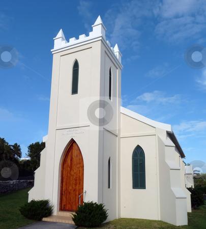 Methodist Church stock photo, Pretty pastel colored church in Hamilton, Bermuda. by Mary Lane