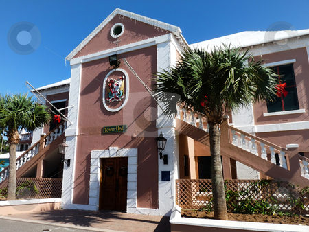 St. George Town Hall stock photo, Historic town hall, St. George Bermuda, all decked out for Christmas. by Mary Lane