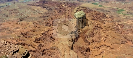 Colorado Panorama stock photo, A panoramic view of the desert landscape in Canyonlands National Park, Utah. The green parts are the Colorado River. by Mary Lane