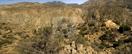 Palm Springs Desert stock photo, A panoramic view of the desert outside of Palm Springs, California. by Mary Lane