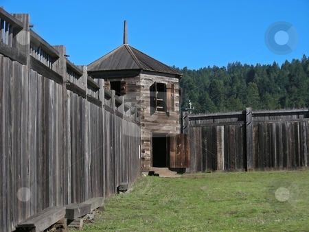 Fort Ross stock photo, A guard house on the perimeter of the old Russian fort - Fort Ross, California. by Mary Lane