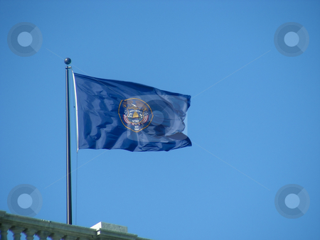 Utah Flag stock photo, The state flag, flying from the Utah State House, Salt Lake City. by Mary Lane