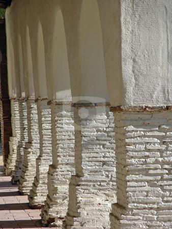 Collonade stock photo, Columns at the Mission San Juan Bauptisa, northern California. by Mary Lane