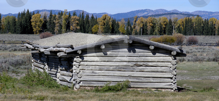 Settlers Cabin stock photo, Historic settler's log cabin, Grand Teton National Park, Wyoming. by Mary Lane
