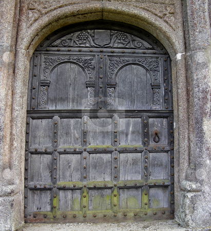 Medieval Door stock photo, Or at least a 19th century reproduction of one - at Lanhydrock, Cornwall, England. by Mary Lane
