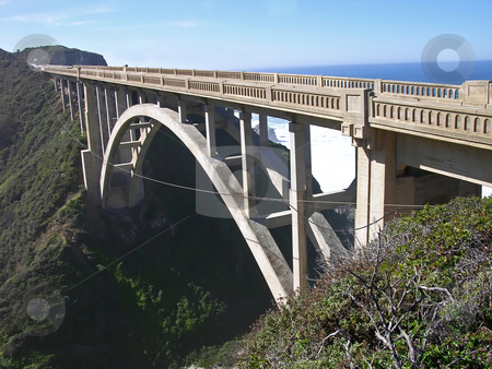 California Bridge stock photo, Bridge on the Pacific Coast Highway, south of Carmel, California. by Mary Lane