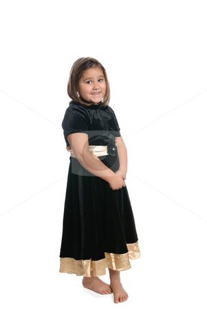 Isolated Kindergartener stock photo, A young kindergarten student wearing a black dress is isolated on a white background. by Richard Nelson