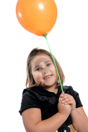 Cute Girl Holding Balloon stock photo, A cute and smiling five year old kindergartener is holding a balloon on a stick, isolated on a white background. by Richard Nelson