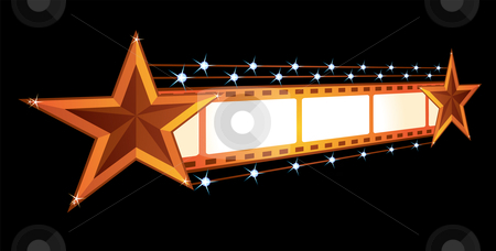 Cinema announcement  stock vector clipart, Gold stars at film isolated on black by oxygen64