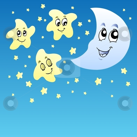 Moon Star Clipart. Night sky with cute stars and