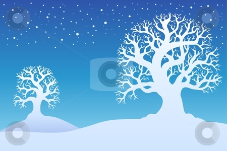 Two winter trees with snow 1 stock vector clipart, Two winter trees with snow 1 - vector illustration. by Klara Viskova