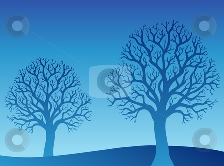 Two blue trees stock vector clipart, Two blue trees - vector illustration. by Klara Viskova