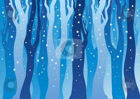 Winter forest with snow stock vector clipart, Winter forest with snow - vector illustration. by Klara Viskova