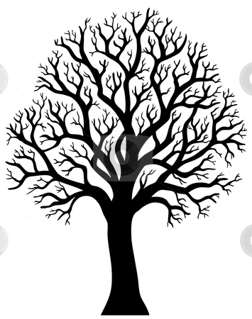 Silhouette of tree without leaf 2 stock vector clipart, Silhouette of tree without leaf 2 - vector illustration. by Klara Viskova
