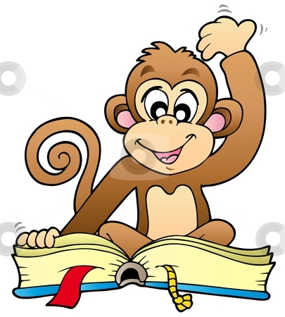 ... vector clipart, Cute monkey reading book - vector illustration. by