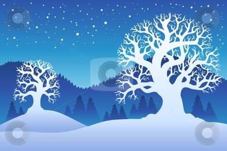 Two winter trees with snow 2 stock vector clipart, Two winter trees with snow 2 - vector illustration. by Klara Viskova