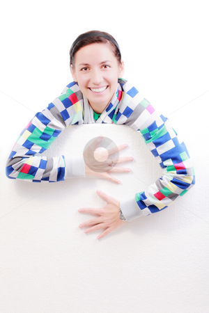 Girl with a panel stock photo, Happy girl holding white styrofoam, against white by Nikola Spasenoski