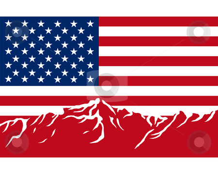 Mountains with flag of USA stock photo, Mountains with flag of USA by Robert Biedermann