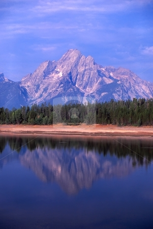 Grant Teton National Park stock photo, View of the Grand Teton over Jackson Lake in northwest Wyoming. by Jason Ross