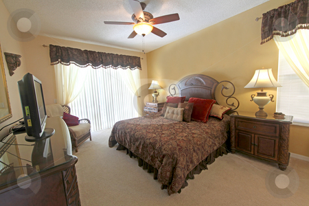 King Master Bedroom stock photo, A King Master Bedroom, Interior Shot of a Home by Lucy Clark