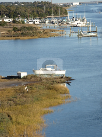Coastal Channel stock photo, Along the inter-coastal waterway in North Carolina by Tim Markley