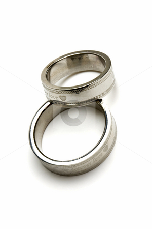 Pair of wedding rings stock photo, pair of wedding rings isolated on white by Ingvar Bjork