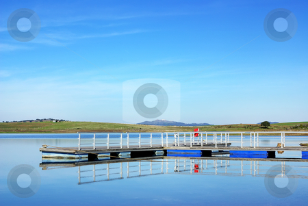 Anchorage in the river Guadiana. stock photo, Anchorage in the river Guadiana. Barrage of Alqueva next to Luz village. by Inacio Pires