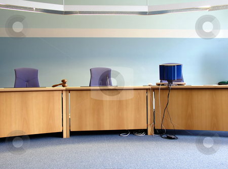 Court's room stock photo, Court's room with tables,chairs,computer and hammer by Ingvar Bjork