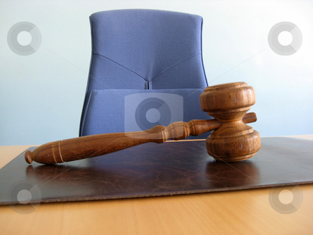 The court desk stock photo, Old wooden gavel ,blue chair and court desk by Ingvar Bjork