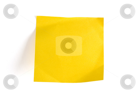 Blank yellow memo note  stock photo, Blank yellow memo note isolated on white by Ingvar Bjork
