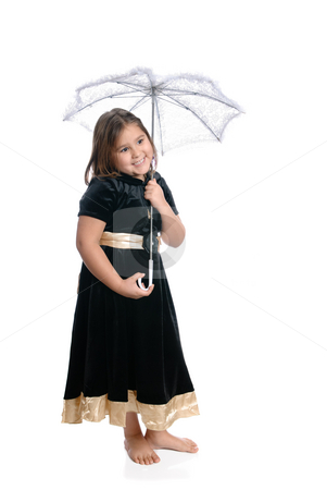 Isolated Kindergartener stock photo, A young kindergarten girl, wearing a pretty dress and holding a white lacy umbrella, isolated against a white background. by Richard Nelson