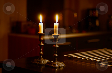 Candlelight stock photo, Romantic candlelight on a table by Kasper Nymann