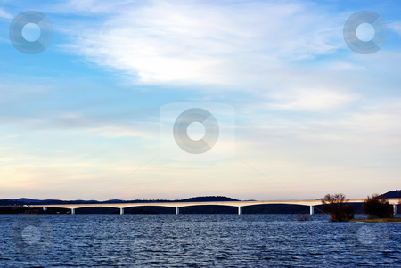 Bridge in Alqueva lake. stock photo, Bridge in Alqueva lake, Alentejo region, Portugal. by Inacio Pires
