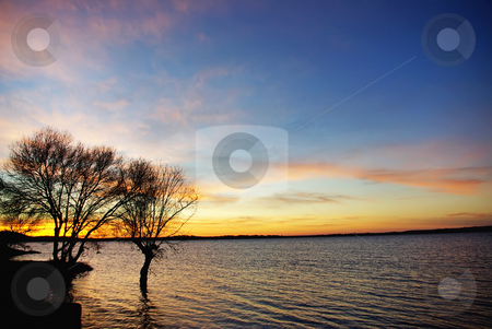Sunset in the lake Alqueva. stock photo, Sunset in the lake Alqueva, Alentejo, Portugal. by Inacio Pires