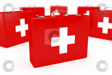 First aid kits stock photo, Group of first aid kits. Very shallow DOF. by Mile Atanasov
