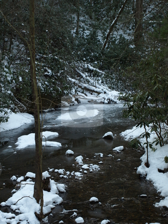 Jacobs Fork stock photo, View along the Jacobs Fork River at South Mountain State Park after a snow fall by Tim Markley