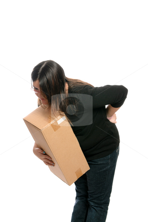 Back Injury stock photo, A teenage girl injured her back while trying to lift a box, isolated against a white background. by Richard Nelson