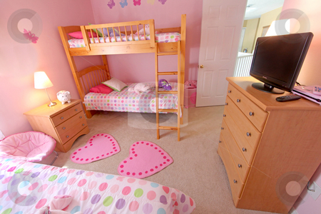 Bunk and Twin Bedroom stock photo, A Bunk and Twin Bedroom, Interior Shot of a Home by Lucy Clark