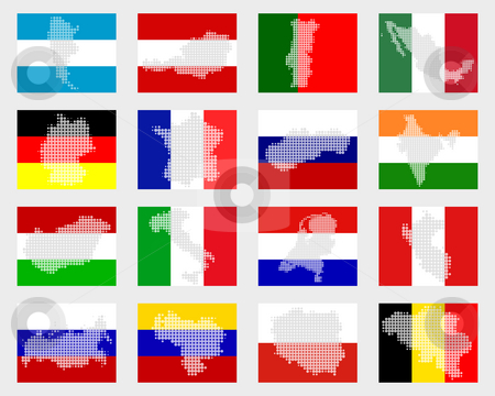 Set of flags with maps stock photo, Set of flags with maps by Robert Biedermann