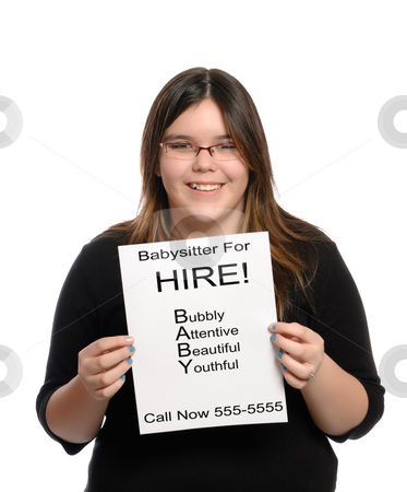 Babysitter stock photo, A babysitter holding a paper flyer advertising her skills as a babysitter, isolated against a white background. by Richard Nelson