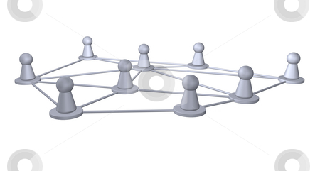 Network stock photo, Connected play figures - 3d illustration by J?