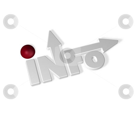 Info stock photo, The word info with arrows and a red sphere - 3d illustration by J?