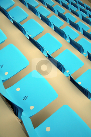 Stadium seats stock photo, Cyan seats background, grey sport hall by Robert Remen