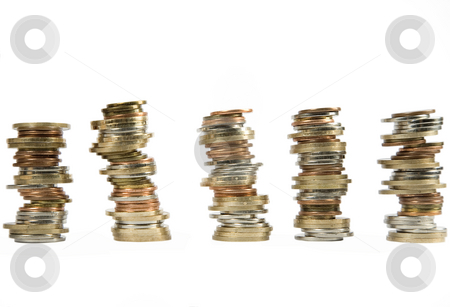 Money coins stacked up stock photo, Many money coins stacked up on a white background by Victor Oancea