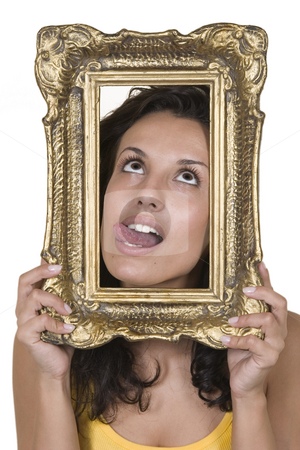 Portrait of beautiful girls and vintage frame stock photo, Front view of beautiful girls and vintage frame by Victor Oancea