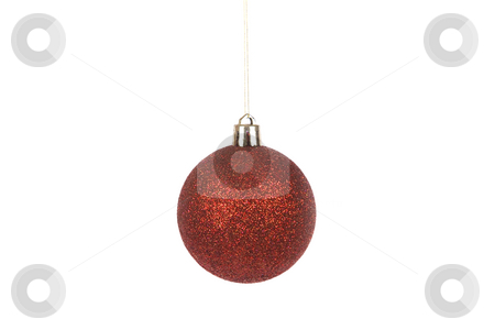Red christmas ball stock photo, Front view of red christmas ball isolated on white by Victor Oancea