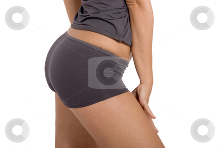 Picture of a girl's buttocks stock photo, Picture of a girl's buttocks. Beautiful female body isolated on white. Sexy young woman in gray panties by Victor Oancea