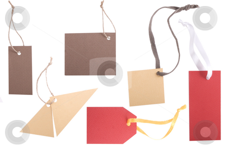 Different shape, empty tag on white background stock photo, Brown and red different shape, empty tag on white background by Victor Oancea